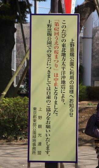 うえの桜祭り中止